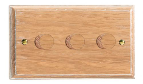 Varilight HK43LO Kilnwood Limed Oak 3 Gang 2-Way Push On/Off Dimmer 40-250W V-Dim